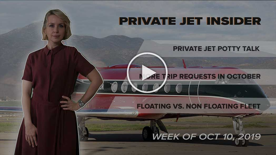 Lavatories on Private Jets. Bookings in October. Floating Fleet vs. Non-Floating Fleet Utilization