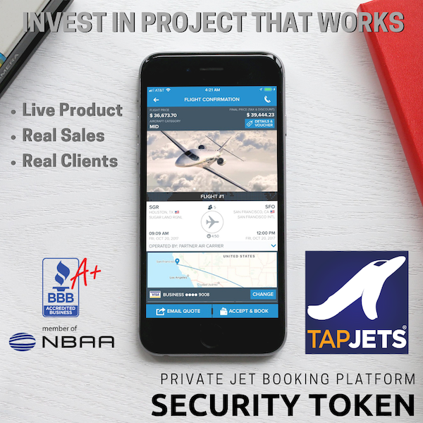 "TapJets – Private Jet Instant Booking Platform Announces A Security Token Offering (STO) as equity in an ""A"" round of funding."